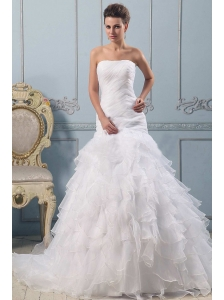 A-line Strapless Pretty Wedding Gowns Ruffled Layered With Ruched Bodice In 2013