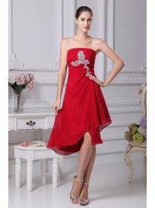 Appliques Decorate Bodice Strapless Chiffon Asymmetrical Wine Red 2013 Prom Dress