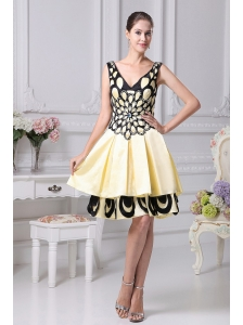 Beading Decorate Yellow A-line Prom Dress For 2013 V-neck
