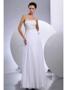 Beading Empire Chiffon Floor-length Strapless Wedding Dress