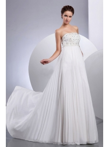 Beading Empire Court Train Chiffon Wedding Dress Strapless