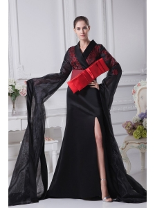 Black Organza High Slit V-neck Brush Train 2013 Prom Dress Long Sleeves