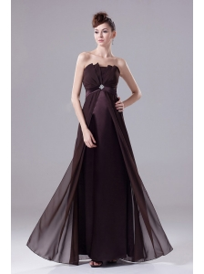 Brown Prom Dress With Beading Strapless Floor-length and Chiffon