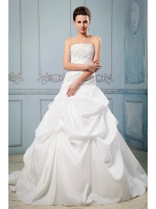 Custom Made A-line 2013 Wedding Dress With Pick-ups and Appliques