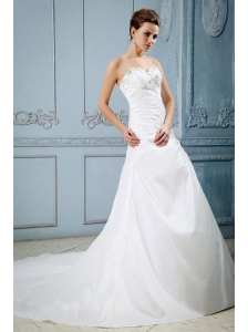 Custom Made Wedding Dress With Sweetheart and Appliques With Beading Court Train