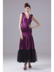 Eggplant Purple Prom Dress With Ruch and Ankle-length