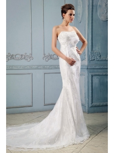 Fashionable 2013 Wedding Dress With Hand Made Flower and Lace Mermaid Court Train Taffeta