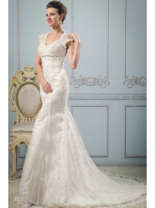 Luxurious Mermaid 2013 V-neck Wedding Dress With Lace and Beading