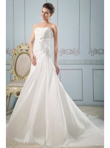 Luxurious Princess Strapless 2013 Wedding Dress With Appliques and Ruch