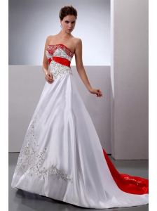 New Arrival 2013 Wedding Dress With Embroidery and Beading Court Train A-line