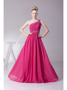 One Shoulder and Ruched Bodice For Hot Pink Prom Dress With Beading