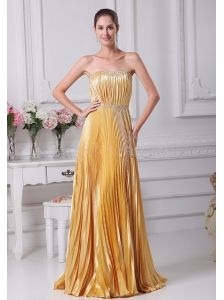 Pleat Over Skirt and Beading For Gold Prom Dress Custom Made