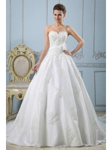 Princess Sweetheart Custom Made Wedding Dress With Appliques and Sash In 2013
