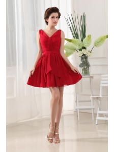 Red V-neck and Ruch For Prom Dress With Mini-length and Chiffon