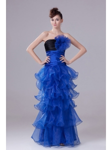 Royal Blue Prom Dress With Hand Made Flowers Ruffled Layers and Ruch
