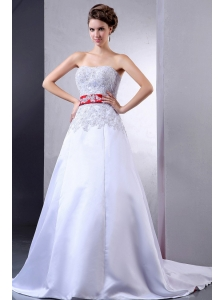 2013 Luxurious Wedding Dress With Appliques and Red Sash Court Train For Custom Made