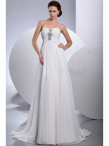 Beading Brush / Sweep Train Chiffon Wedding Dress Sweetheart Empire