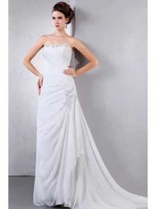 Beautiful 2013 Wedding Dress With Appliques and Ruching Court Train Chiffon For Custom Made