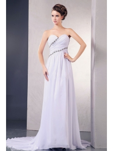 Elegant 2013 Wedding Dress With Appliques and Ruching Sweetheart Court Train Chiffon For Custom Made