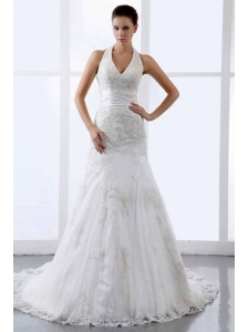Halter Appliques Tulle Court Train Modern Wedding Dress