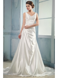 Luxurious Wedding Dress With V-neck Ruching Court Train Taffeta
