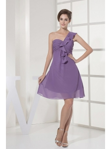 One Shoulder and Ruch For Lilac Prom Dress With Chiffon and Mini-length