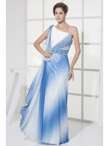 One Shoulder For Ombre Color Prom Dress With Ruch