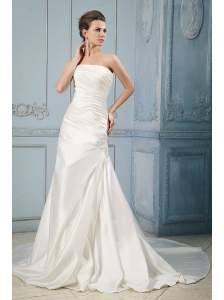 Simple Wedding Dress With Ruching and Appliques Court Train For Custom Made