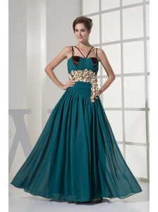 Teal Prom Dress With Hand Made Flowers and Straps