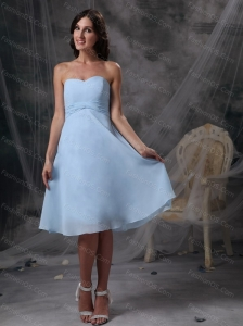 2013 Cheap Baby blue Chiffon Sweetheart Dama Dress On Sale
