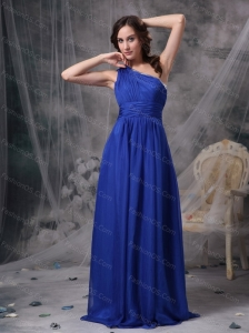 2013 Long Blue One Shoulder Ruch Dama Dress For Quinceanera