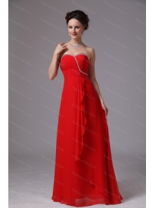 2013 Long Red Sweetheart Beaded Ruch Chiffon Dama Dress