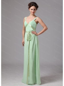 Apple Green Sash V-neck Straps Chiffon Dama Dresses On Sale