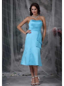 Aqua Blue Column Strapless Dama Dress On Sale