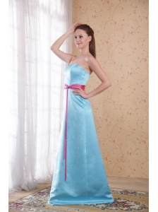 Aqua Blue Empire Strapless Brush Train Dama Dresses For 2013
