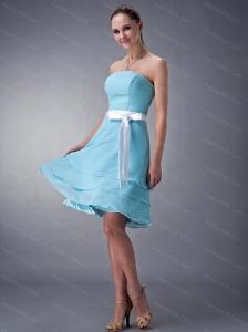 Aqua Strapless Knee-length Sash Short Dama Dress On Sale