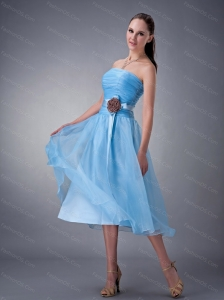 Baby Blue A-line / Princess Tea-length Sash Discount Dama Dress