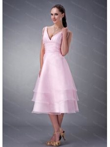 Baby Pink A-line / Princess V-neck Ruch Dama Dresses for Quinceanera