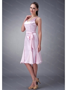 Baby Pink Column / Sheath V-neck Sash 2013 Dama Dress