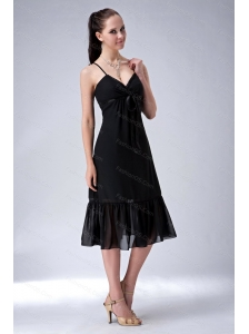Black Column Straps Ruch Short Dama Dress