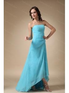 Blue A-line Strapless Long Chiffon Dama Dresses Online