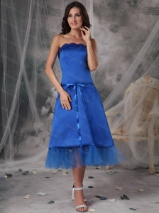 Blue Strapless Tea-length Taffeta Sash Dama Dresses On Sale