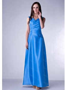 Blue V-neck Ankle-length Ruch 2013 Dama Dress