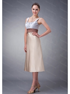 Champagne Column Scoop Short Dama Dress On Sale