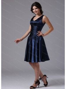 Cheap V-neck Ruch For Navy Blue Short Dama Dresses for Quinceanera