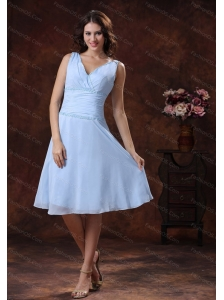 Chiffon V-neck Lilac Ruch Short Chiffon 2013 Dama Dresses