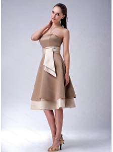 Chocolate Strapless Tea-length Satin 2013 Dama Dress