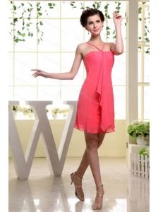 Coral Red Dama Dress  Straps Mini-length