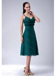 Dark Green Straps Ruch Cheap Dama Dress On Sale