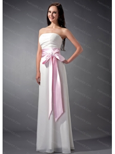 Empire Strapless White and Baby Pink Long Dama Dress